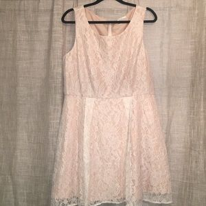 LC Lauren Conrad Blush Pink and Ivory Lace Dress